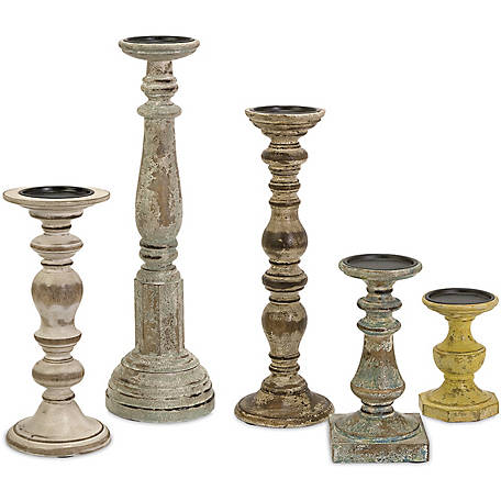 Kanan Wood Candleholders with Distressed Finish, Set of 5