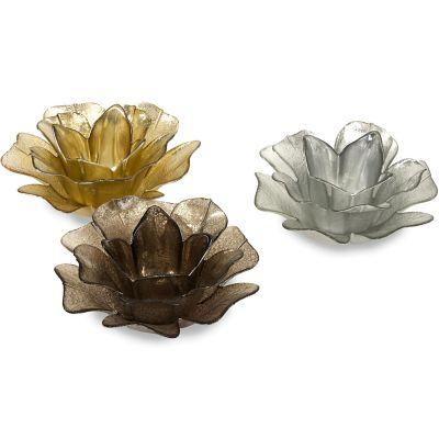Hanna Glass Floral Votives; Set of 3