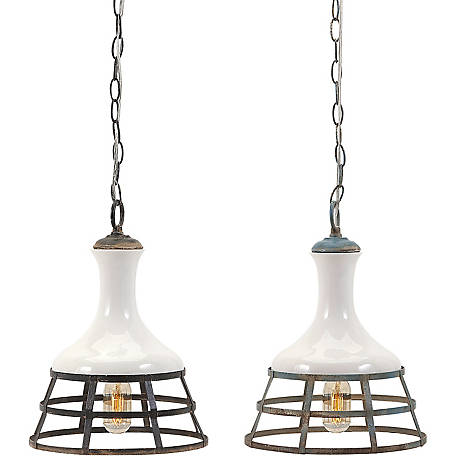 Sandra Ceramic and Metal Pendant Lights, Pack of 2