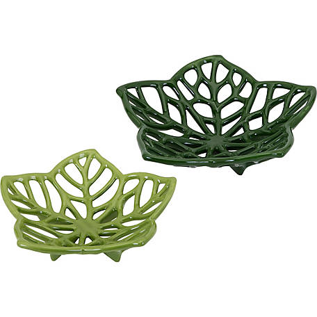 Floriana Ceramic Cutwork Flowers, Set of 2