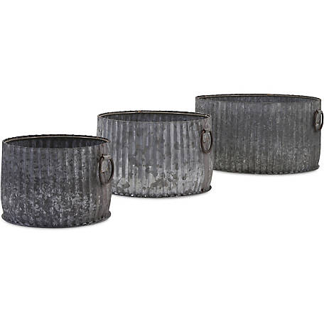 Maurer Galvanized Planters, Set of 3