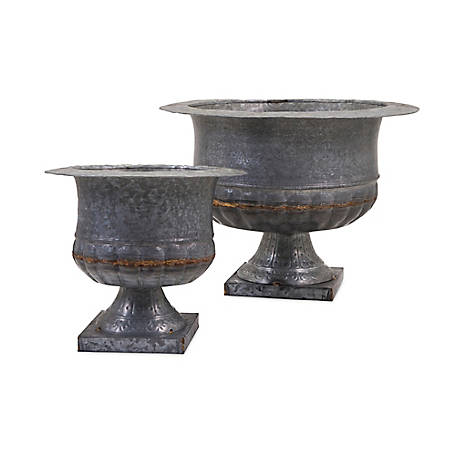 Carey Galvanized Urns, Set of 2