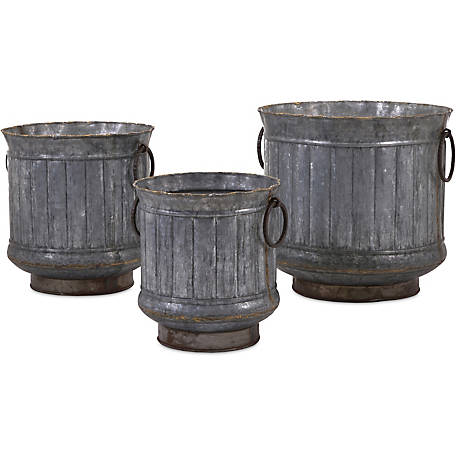 Griffin Galvanized Planters with Brass Edging, Set of 3