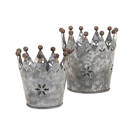 Maddy Galvanized Crowns, Set of 2