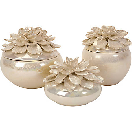 Blair Hand-Sculpted Floral Boxes, Set of 3