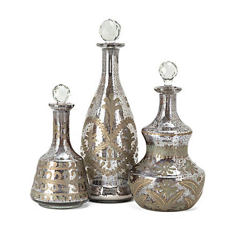 Acadia Glass Decanters, Set of 3