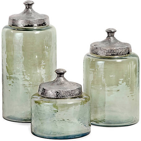 Round Green Luster Canisters, Set of 3