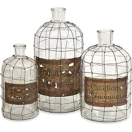 Dimora Wire Caged Bottles, Set of 3