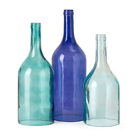 Imax Monteith Blue Cloche Decorative Bottles Set Of 3 At Tractor Supply Co