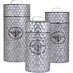 Trisha Yearwood Honey Bee Galvanized Canisters, Set of 3