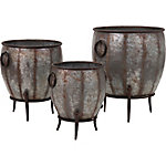 Mureilene Galvanized Planters, Set of 3