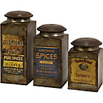 Addie Vintage Label Wood and Metal Canisters, Set of 3