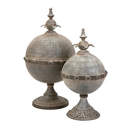Decorative Lidded Spheres, Set of 2