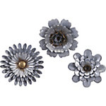 Hillary Galvanized Wall Flowers, Set of 3