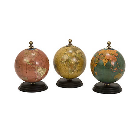 Antique Finish Mini Globes on Wood Base, Set of 3