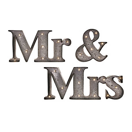 Mr. & Mrs. Lighted Signs, Pack of 3
