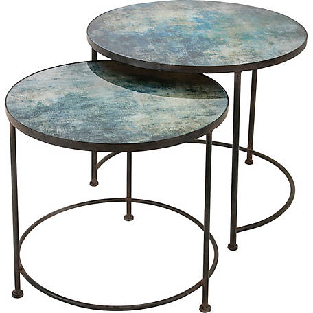 Paxton Metal and Printed Glass Tables, Pack of 2