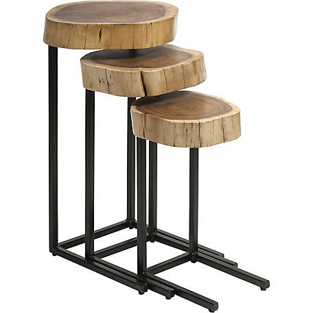 Nadera Wood and Iron Nesting Tables, Pack of 3