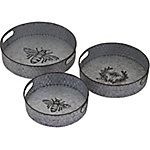 Trisha Yearwood Home Collection Honey Bee Galvanized Trays, Pack of 3