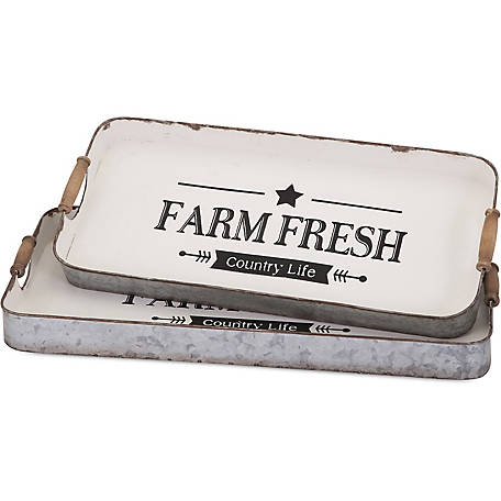 Farm Fresh Decorative Trays, Pack of 2