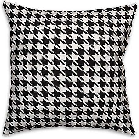 Designs Direct Black and White Houndstooth Plaid 18 in. x 18 in. Spun Poly Pillow