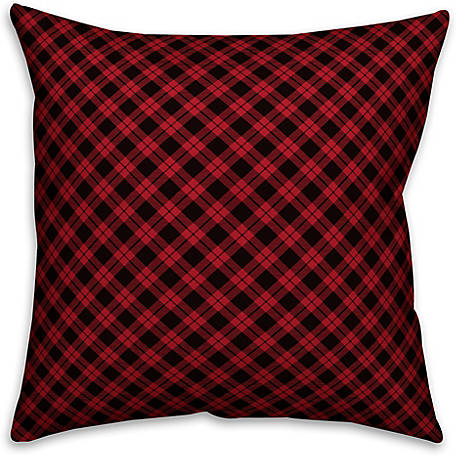 Designs Direct Red and Black Gingham Buffalo Check Plaid 18 in. x 18 in. Spun Poly Pillow