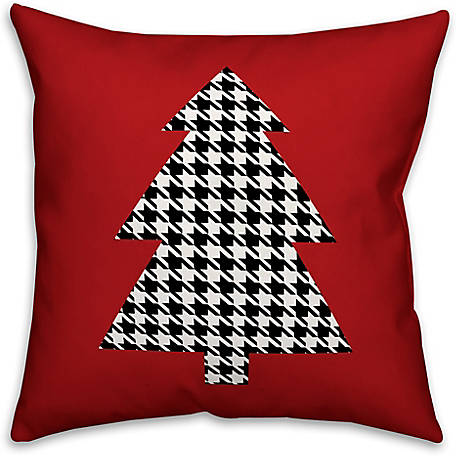 Designs Direct Houndstooth Christmas Tree 18 in. x 18 in. Spun Poly Pillow