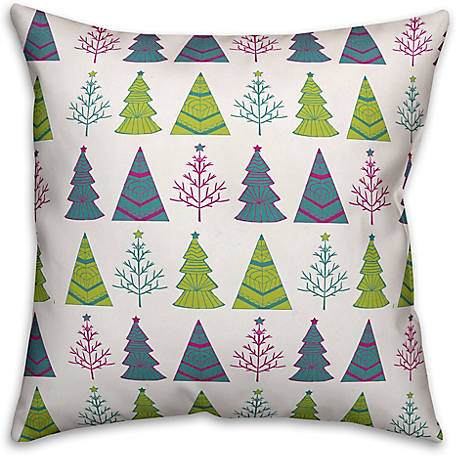 Designs Direct Christmas Tree Pattern 18 in. x 18 in. Spun Poly Pillow