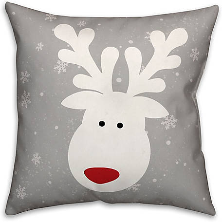 Designs Direct Cute White Deer 16 in. x 16 in. Spun Poly Pillow