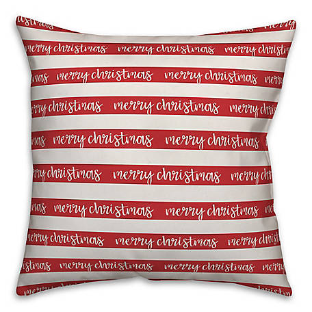 Designs Direct Merry Christmas Stripes 16 in. x 16 in. Spun Poly Pillow