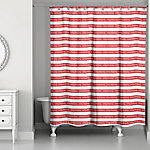 Designs Direct Merry Christmas Stripes 71 in. x 74 in. Shower Curtain