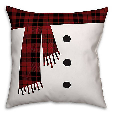 Designs Direct Snowman Scarf and Buttons 16 in. x 16 in. Spun Poly Pillow