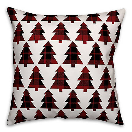 Designs Direct Plaid Trees 16 in. x 16 in. Spun Poly Pillow