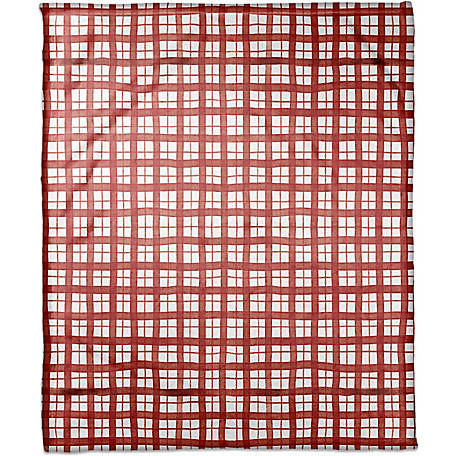 Designs Direct Christmas Red Plaid 50 in. x 60 in. Coral Fleece Blanket