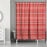 Designs Direct Red Plaid 71 in. x 74 in. Shower Curtain