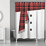 Designs Direct Snowman Scarf 71 in. x 74 in. Shower Curtain