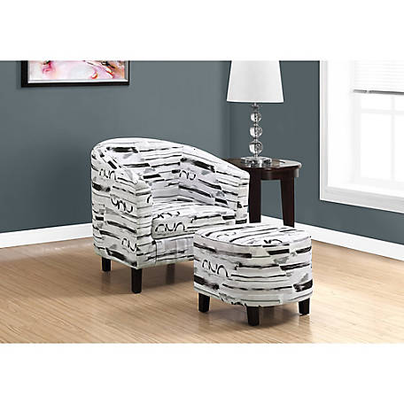 Monarch Specialties 2-Piece Accent Chair and Ottoman Set, Brush Design Fabric