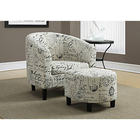 Monarch Specialties 2-Piece Accent Chair and Ottoman Set, Vintage French Fabric