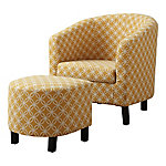 Monarch Specialties 2-Piece Accent Chair and Ottoman Set, 'Circular' Fabric
