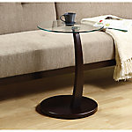 Monarch Specialties Bentwood Accent Table with Tempered Glass
