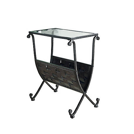 Monarch Specialties Accent Table, Black/Taupe Mix Metal with Tempered Glass