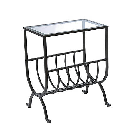 Monarch Specialties Accent Table, Stardust Brown Metal with Tempered Glass
