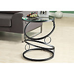 Monarch Specialties Accent Table, Matte Black Metal with Tempered Glass
