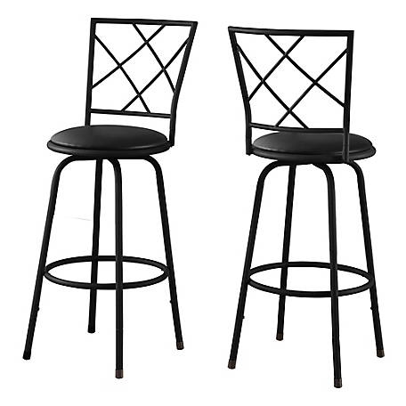 Monarch Specialties Swivel Barstool, Black with Black Leather-Look Seat, Pack of 2