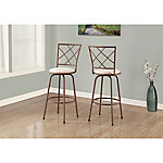 Monarch Specialties Swivel Barstool with Fabric Seat, Pack of 2