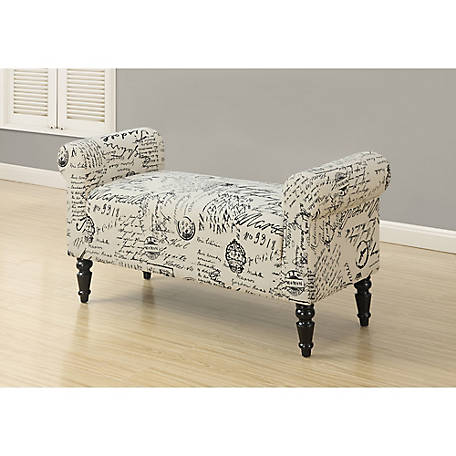 Monarch Specialties 44 in. L Traditional-Style Bench, Vintage French Fabric