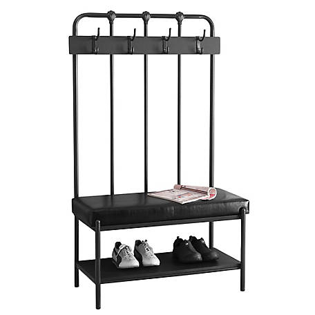 Monarch Specialties 60 in. H Charcoal Gray Metal Hall Entry Bench