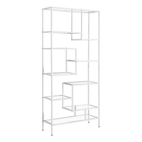 Monarch Specialties 72 in. H Bookcase with Tempered Glass