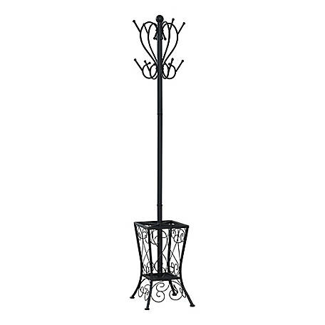 Monarch Specialties 71 in. H Metal Coat Rack with Umbrella Holder, Black