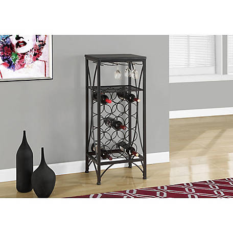 Monarch Specialties 40 in. H Metal Wine Bottle and Glass Rack